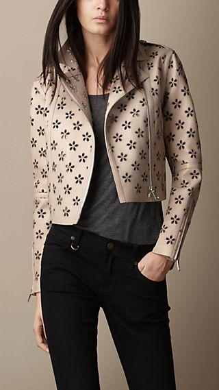 Laser-Cut Flower Lambskin Biker Jacket
