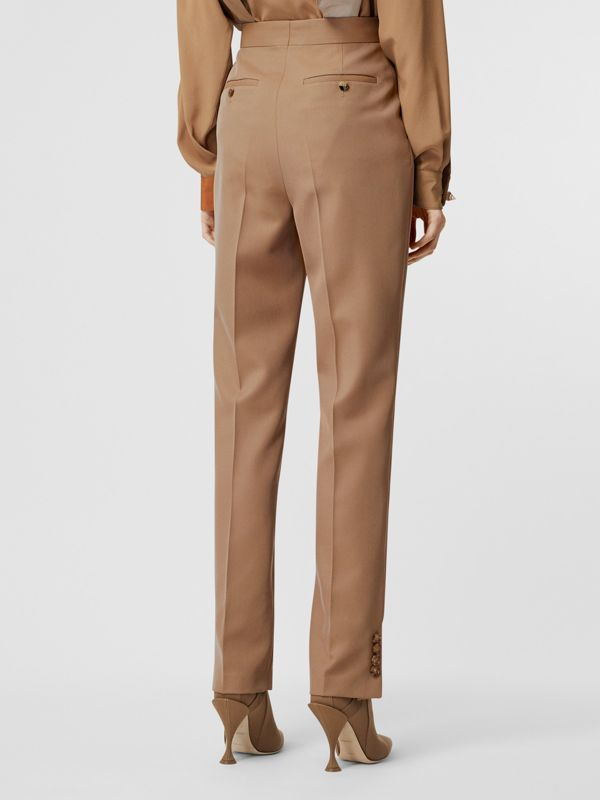Straight Fit Button Detail Wool Blend Tailored Trousers in Camel - Women | Burberry - cell image 2