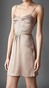 Corset Detail Stretch-Silk Night Dress