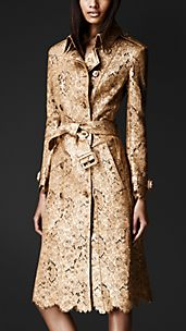 Laser-Cut Leather Trench Coat