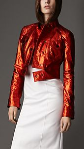 Cropped Metallic Leather Jacket