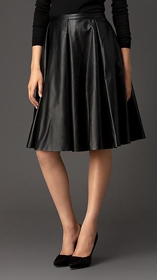 Gather Detail Leather Circle Skirt