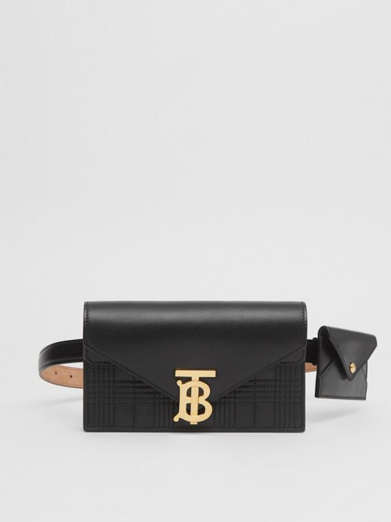 Belted Quilted Lambskin TB Envelope Clutch in Black