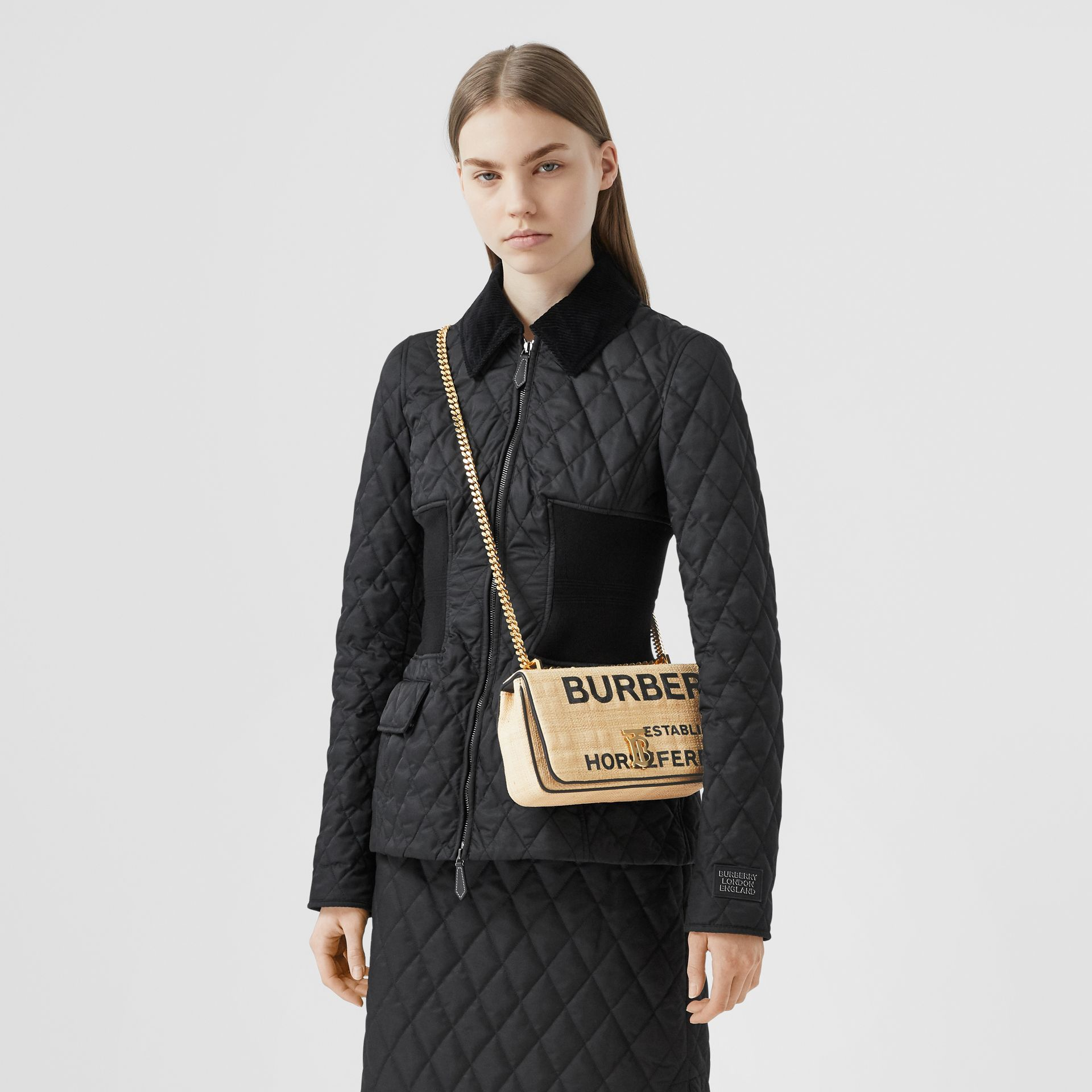 Small Horseferry Print Quilted Raffia Lola Bag - Women | Burberry - gallery image 9