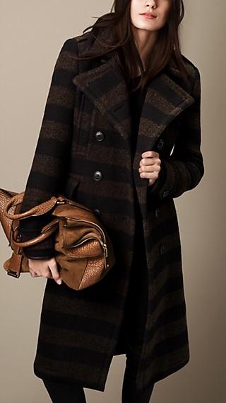 Needlepunch Stripe Wool Blend Coat