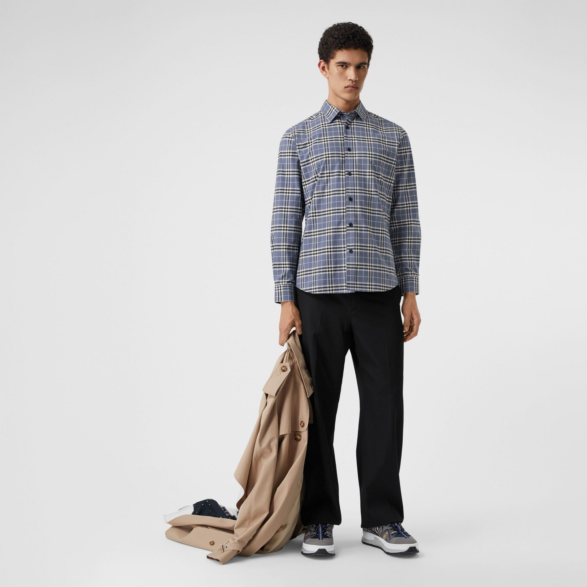Small Scale Check Stretch Cotton Shirt in Pebble Blue - Men | Burberry United Kingdom - gallery image 0