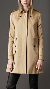 Mid-Length Cotton Gabardine A-Line Coat
