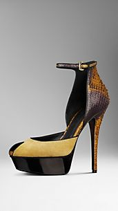 Framed Python and Suede Platform Sandals