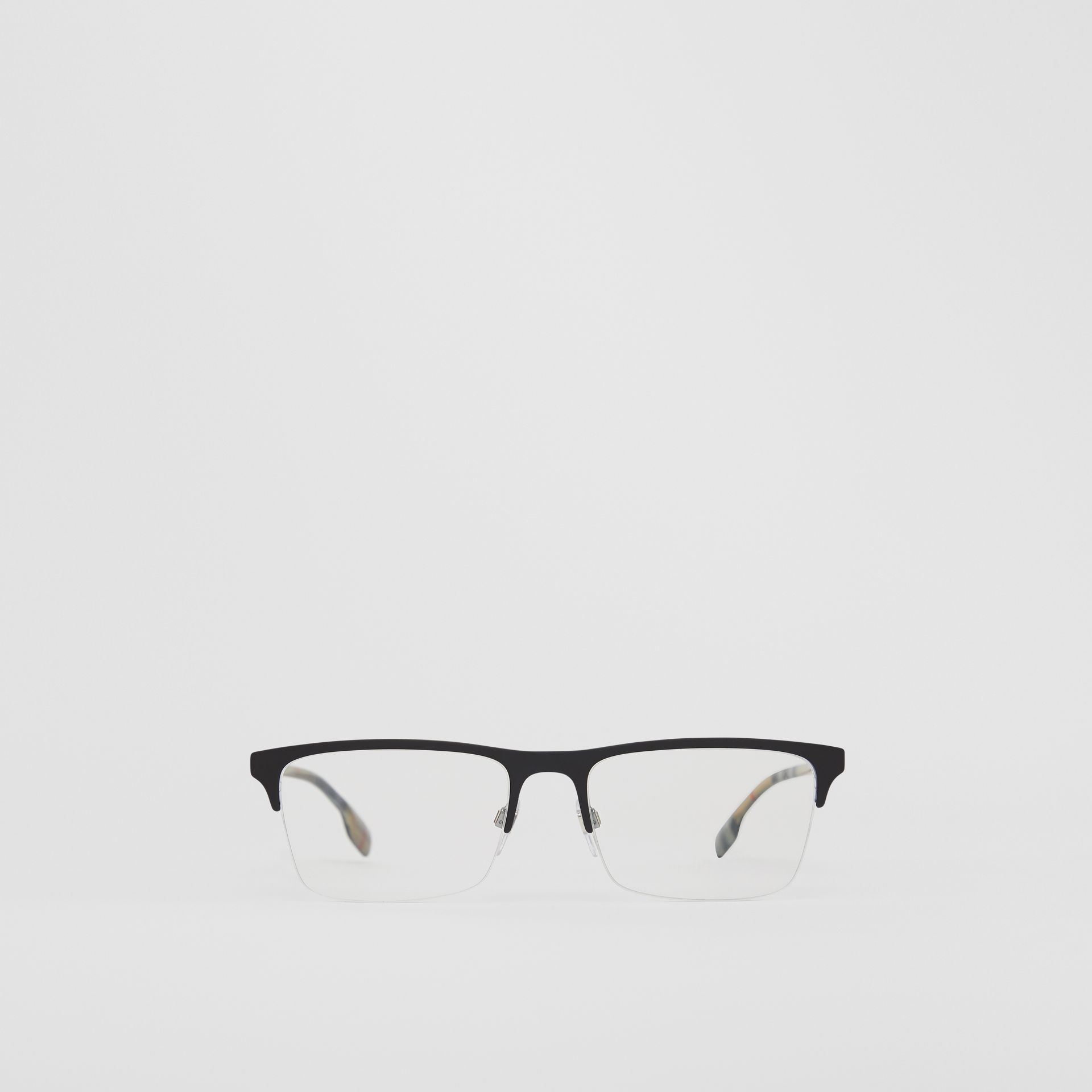 Rectangular Optical Frames in Matte Black - Men | Burberry - gallery image 0