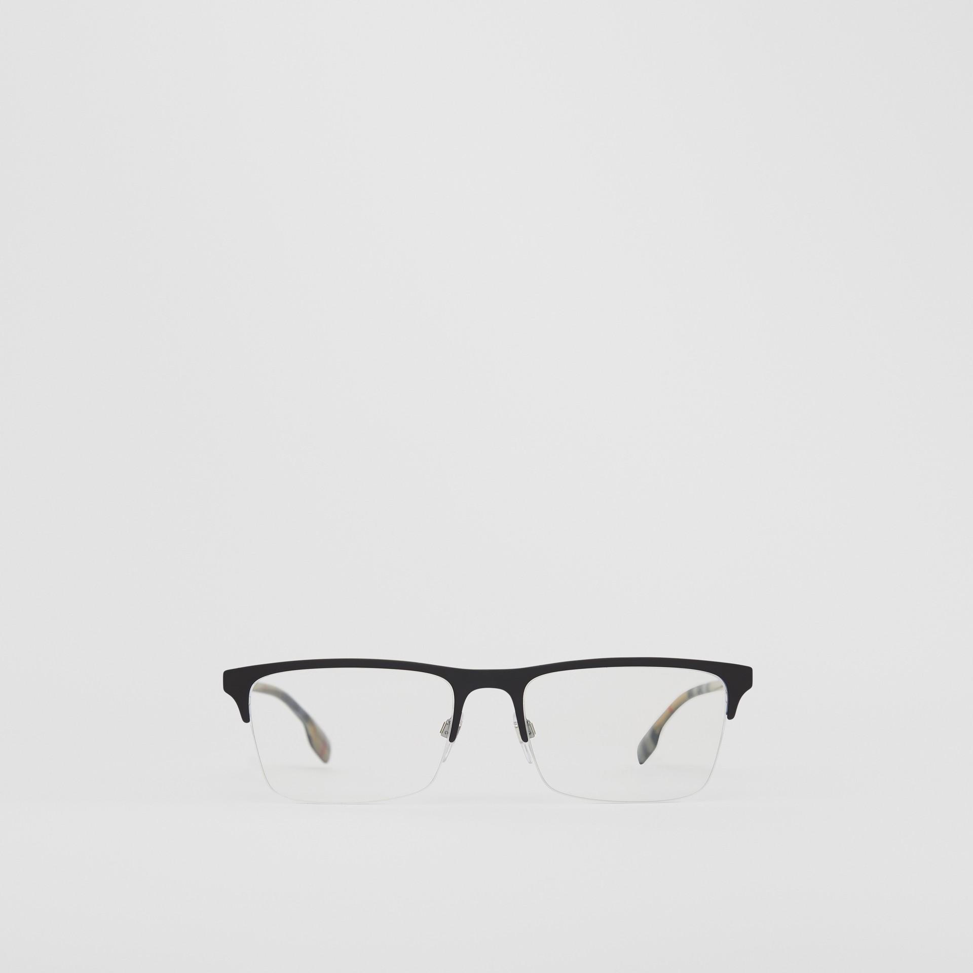 Óculos de grau com armação retangular (Preto Fosco) - Homens | Burberry - galeria de imagens 0