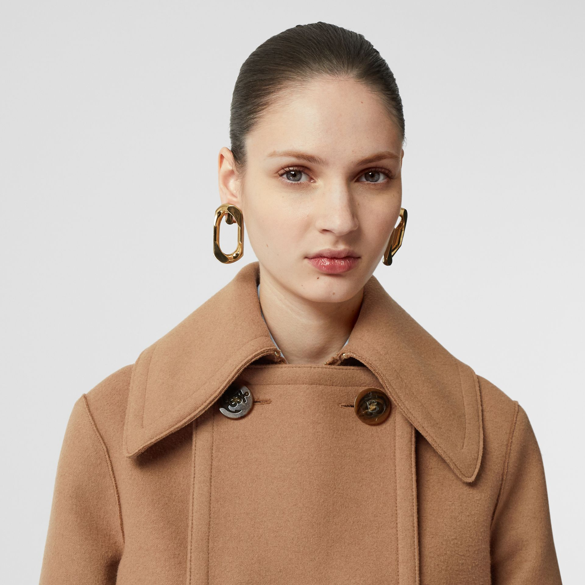 Button Panel Detail Wool Cashmere Pea Coat in Camel - Women | Burberry - gallery image 7