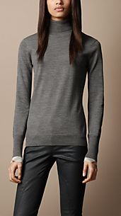 Check Cuff Polo Neck Sweater