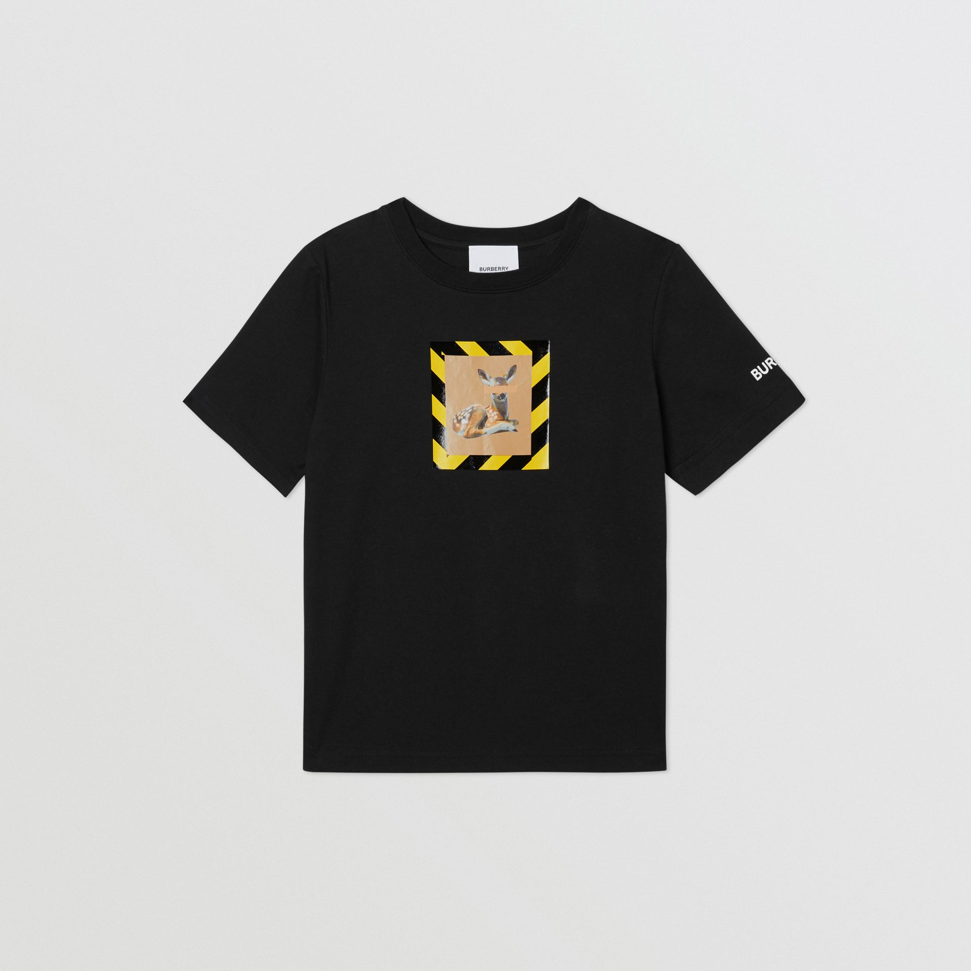 Deer Print Cotton T-shirt in Black   Burberry - gallery image 0