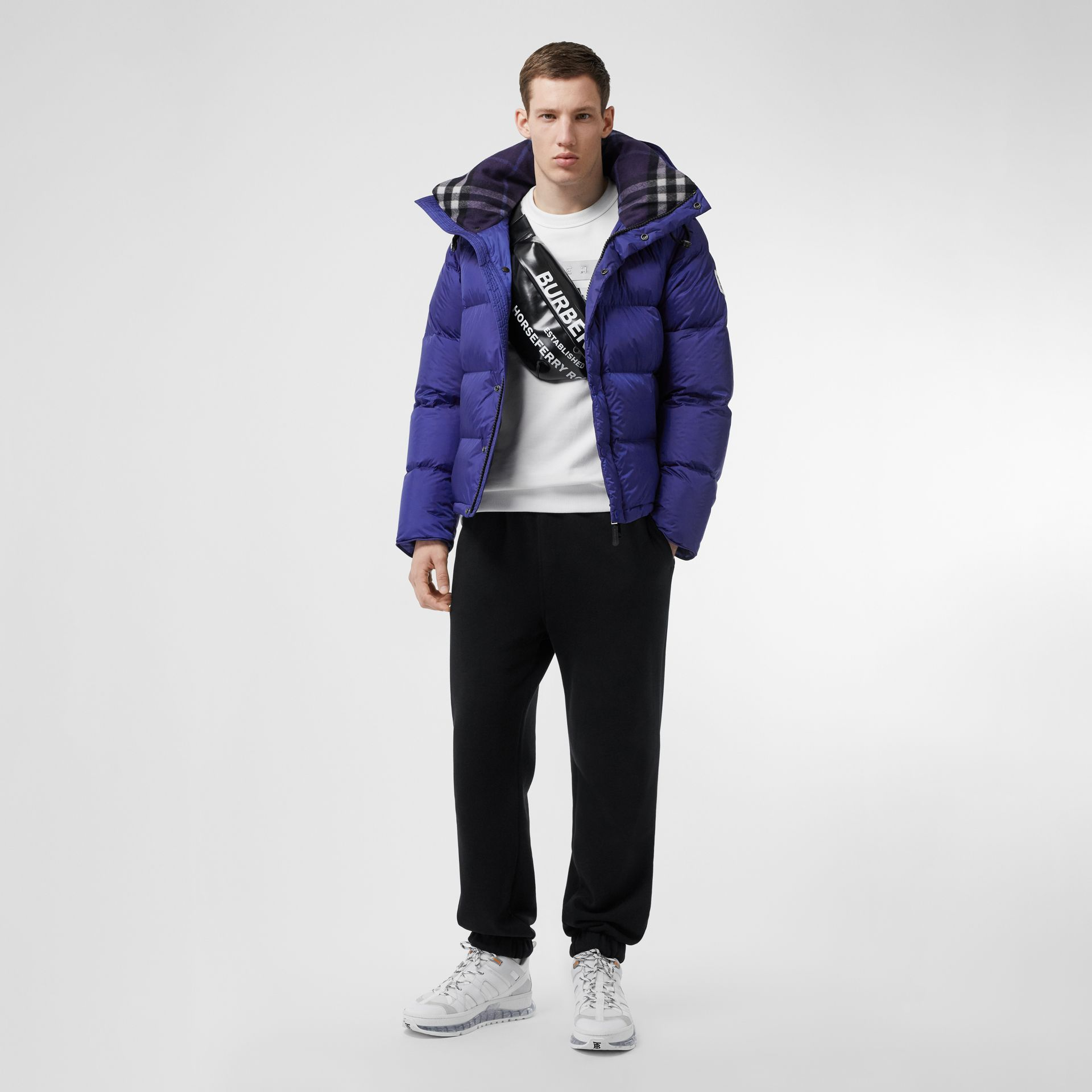 Detachable Sleeve Hooded Puffer Jacket in Dark Cobalt Blue - Men | Burberry - gallery image 0