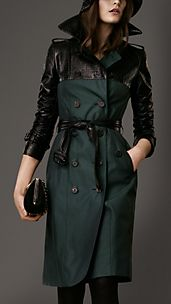 Long Textured Patent Panel Trench Coat