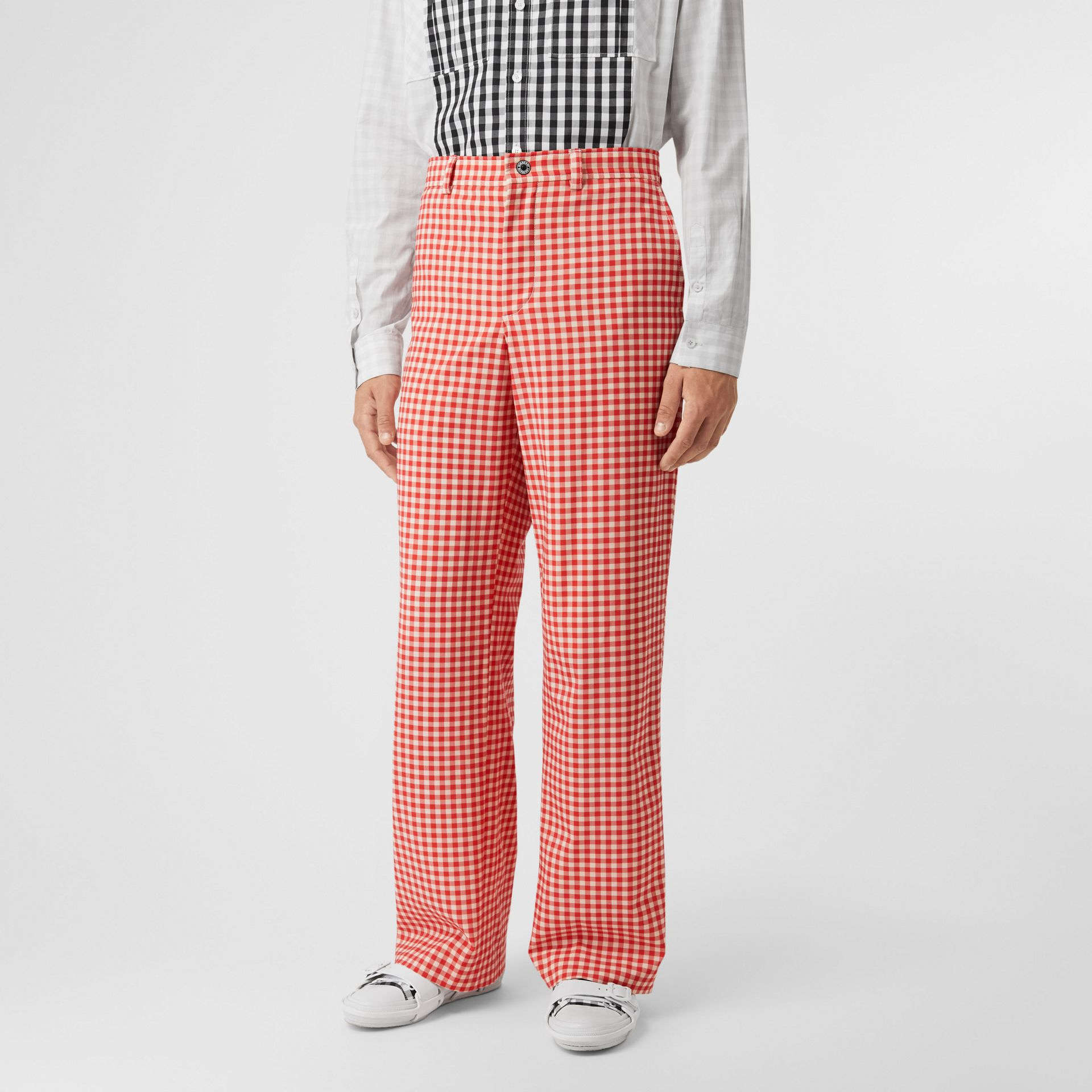 Cut-out Back Gingham Stretch Cotton Trousers in Red | Burberry - gallery image 5