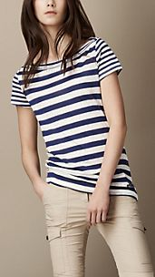 Striped Cowl Neck T-Shirt