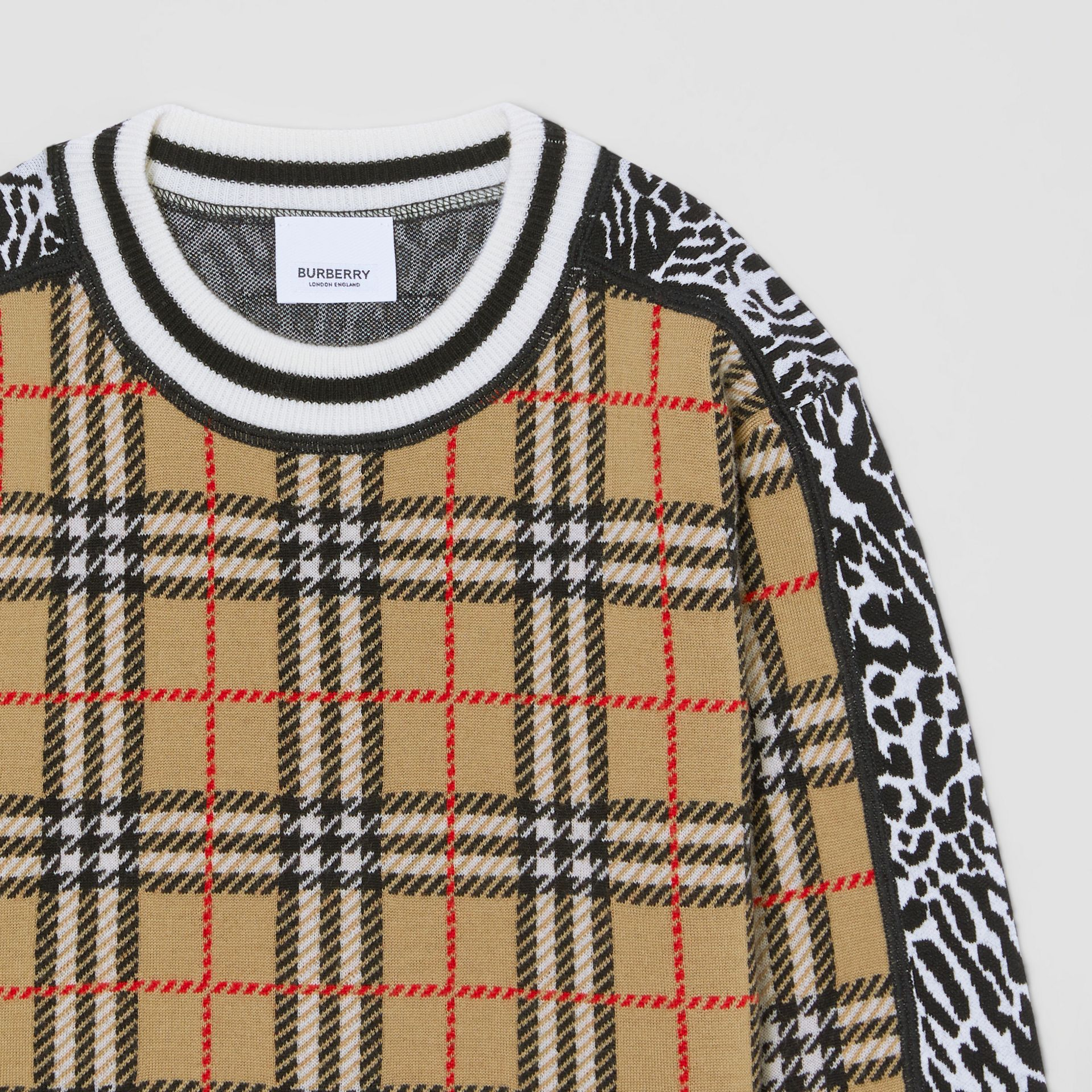 Check and Leopard Merino Wool Jacquard Sweater in Print | Burberry United States - gallery image 4