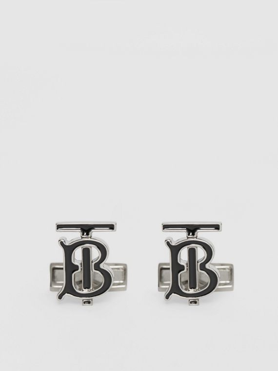 Monogram Motif Enamel and Palladium-plated Cufflinks in Palladium/black