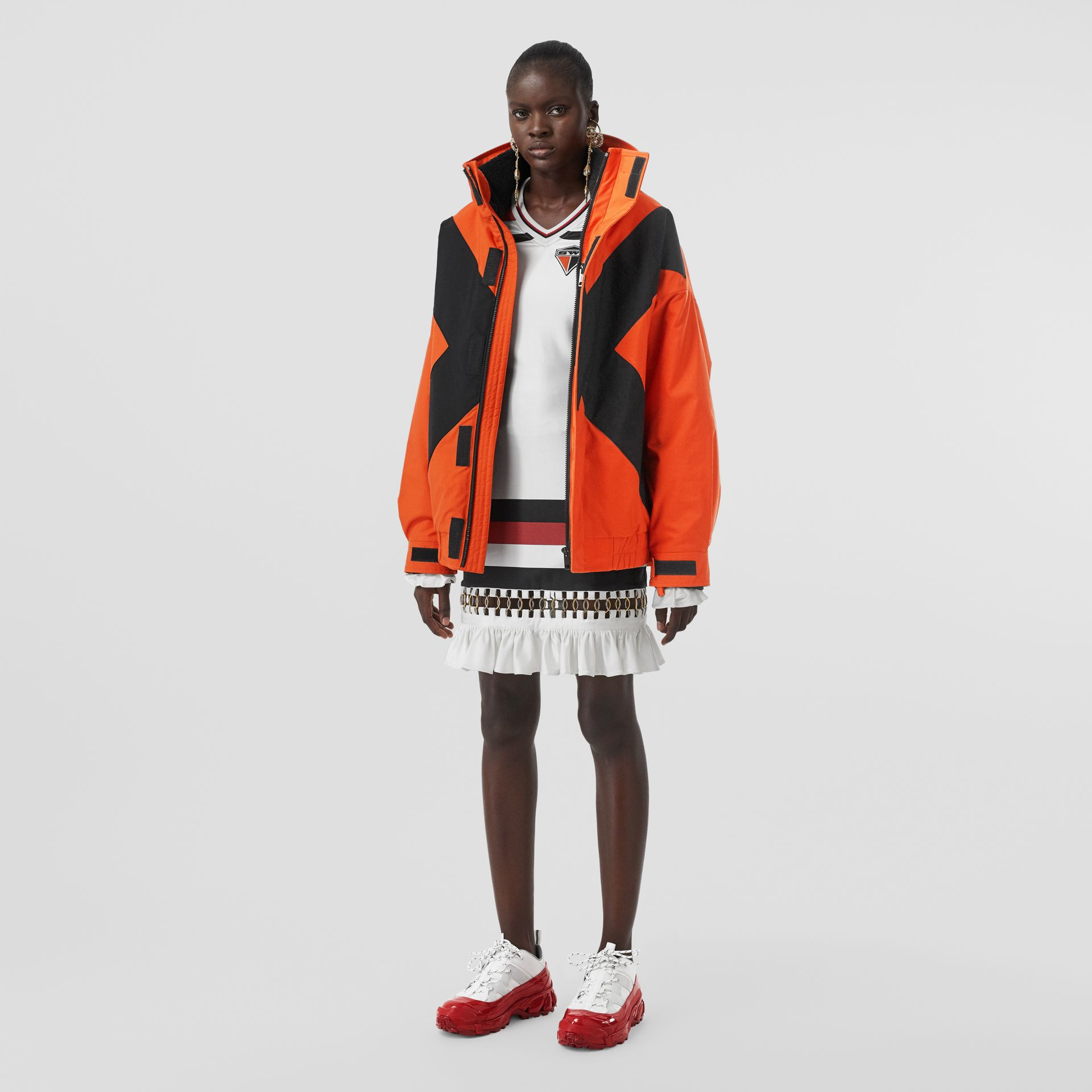 Panelled Nylon Track Jacket with Detachable Warmer in Bright Orange - Women | Burberry United Kingdom - gallery image 0
