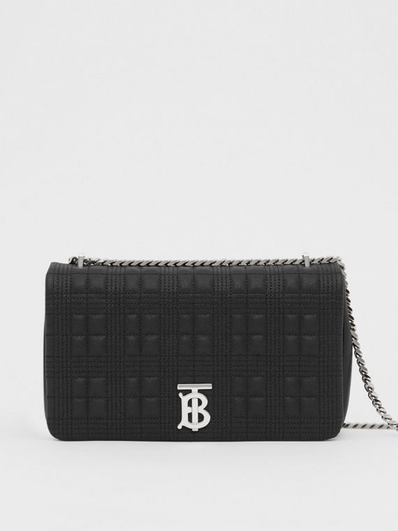 Medium Quilted Grainy Leather Lola Bag in Black/palladium