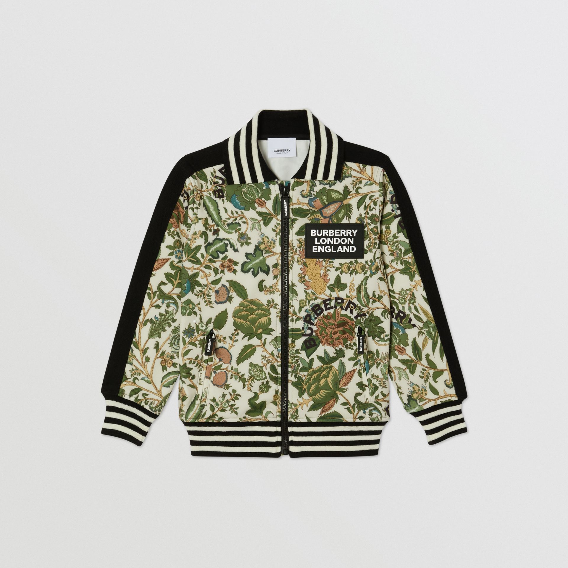 Botanical Print Neoprene Bomber Jacket in Olive | Burberry Hong Kong S.A.R - gallery image 0