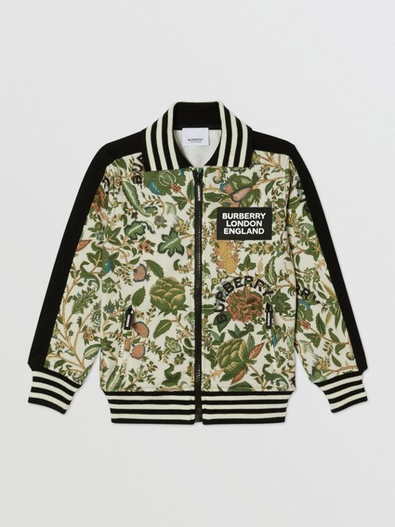 Botanical Print Neoprene Bomber Jacket in Olive