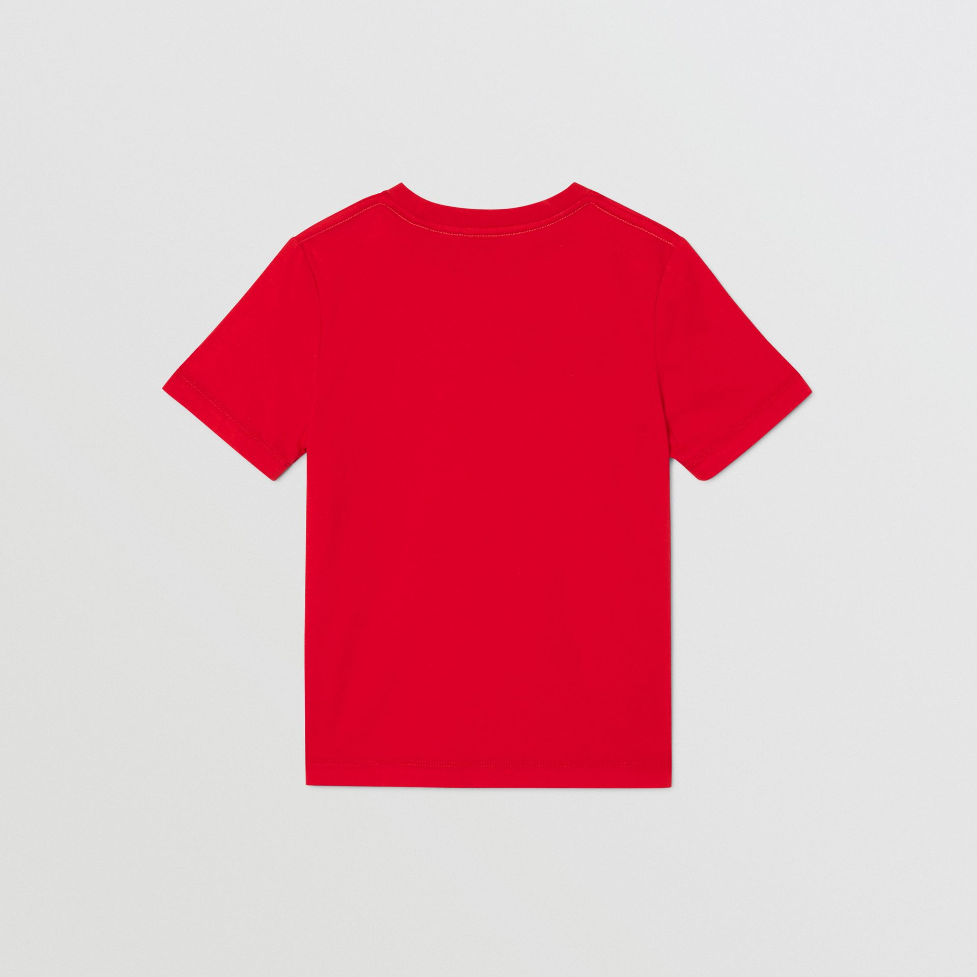 Logo Print Cotton T-shirt in Bright Red | Burberry United Kingdom - gallery image 4