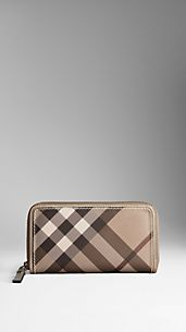 Smoked Check Metallic Trim Ziparound Wallet
