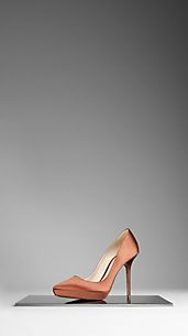 Point-Toe Satin Pumps