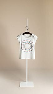 Frill Detail Graphic Print T-Shirt