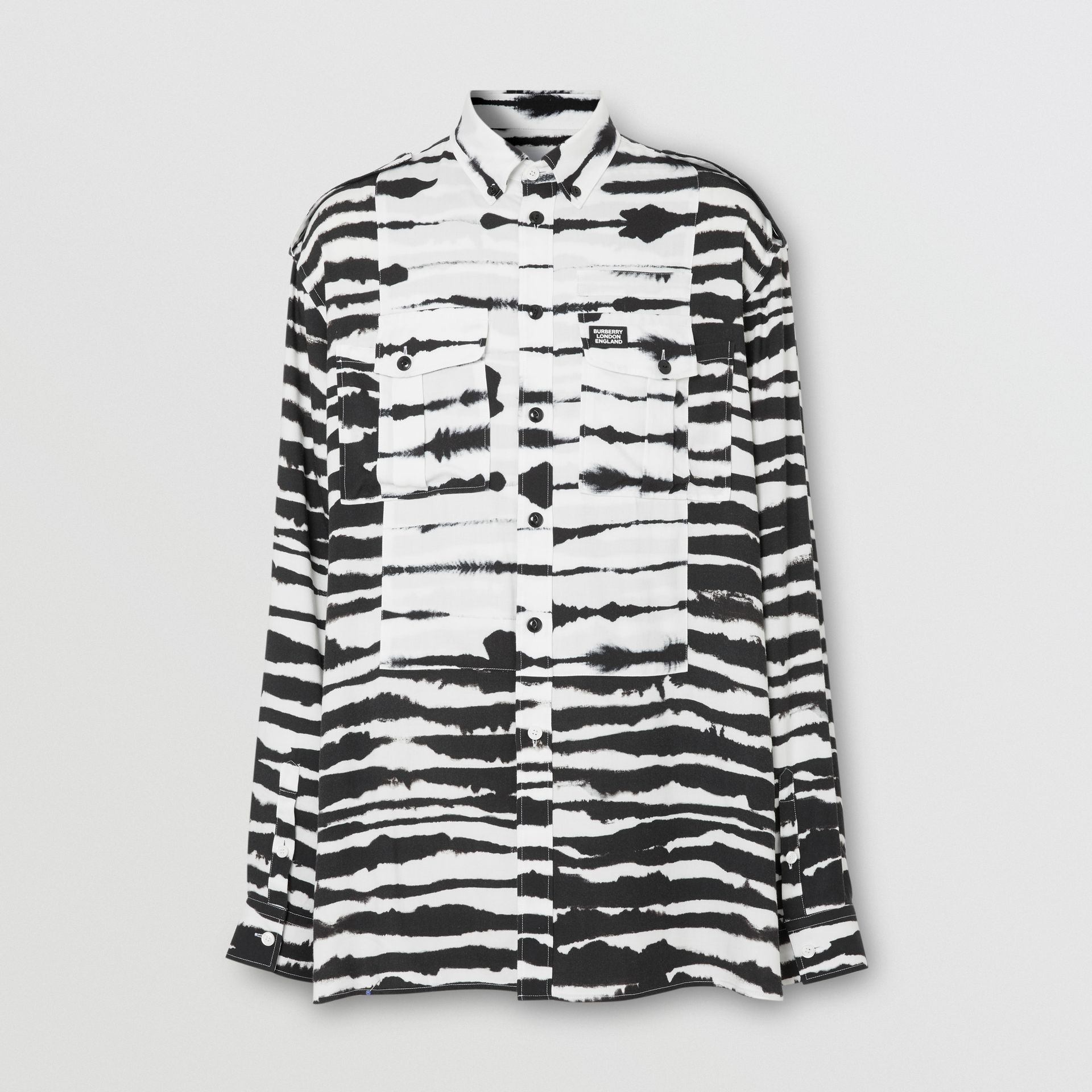 Contrast Bib Watercolour Print Twill Oversized Shirt in Monochrome | Burberry Australia - gallery image 3