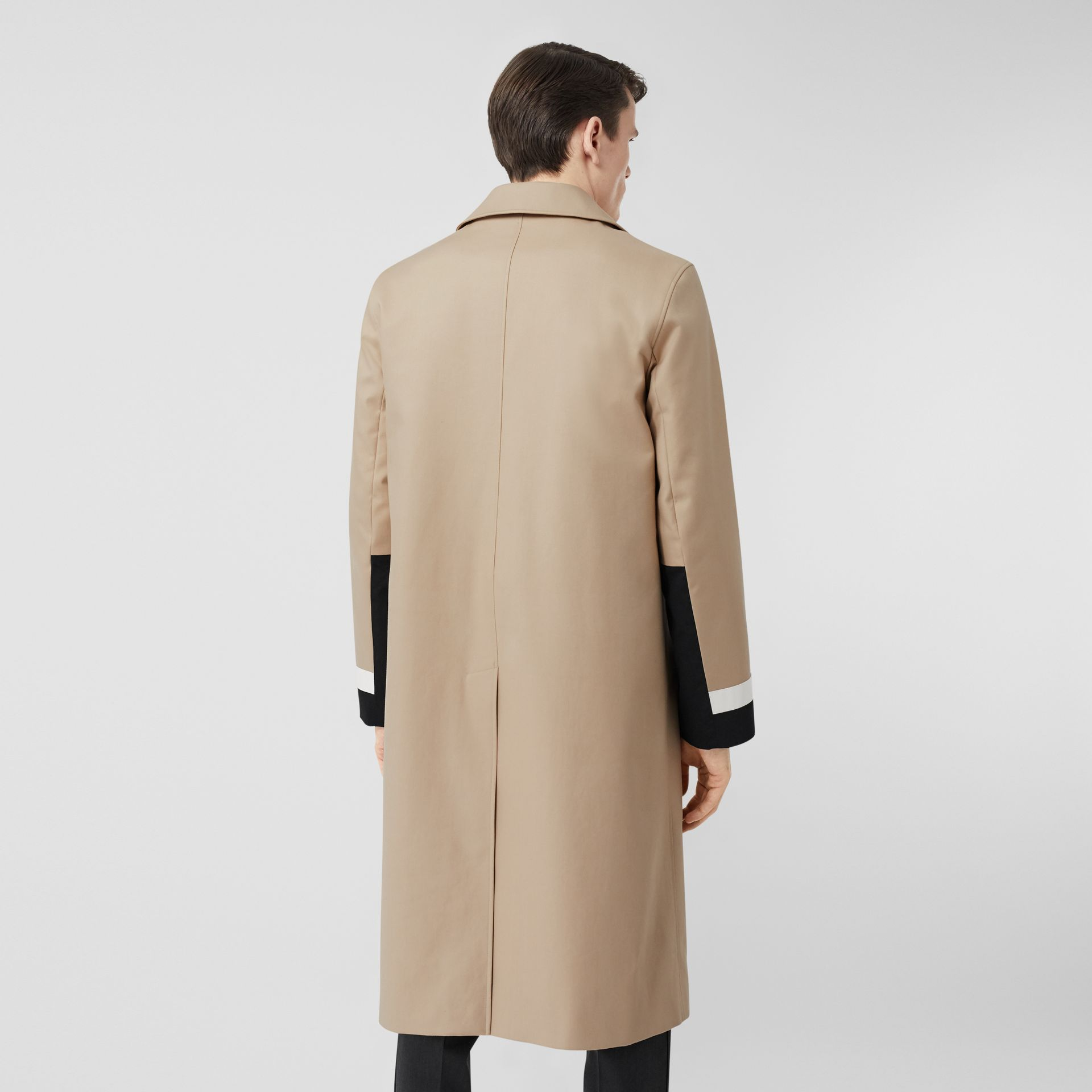 Stripe Detail Cotton Gabardine Car Coat in Soft Fawn - Men | Burberry - gallery image 2