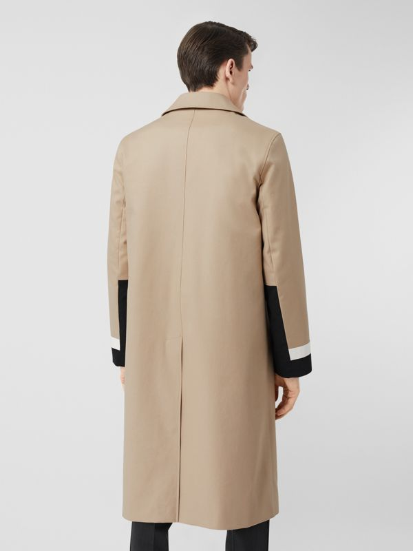 Stripe Detail Cotton Gabardine Car Coat in Soft Fawn - Men | Burberry - cell image 2