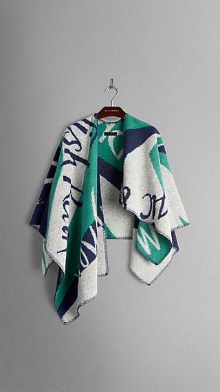 Book Cover Pattern Wool Cashmere Poncho : Women s prorsum accessories burberry