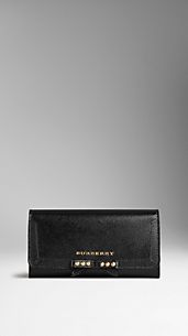 London Leather Studded Bow Continental Wallet