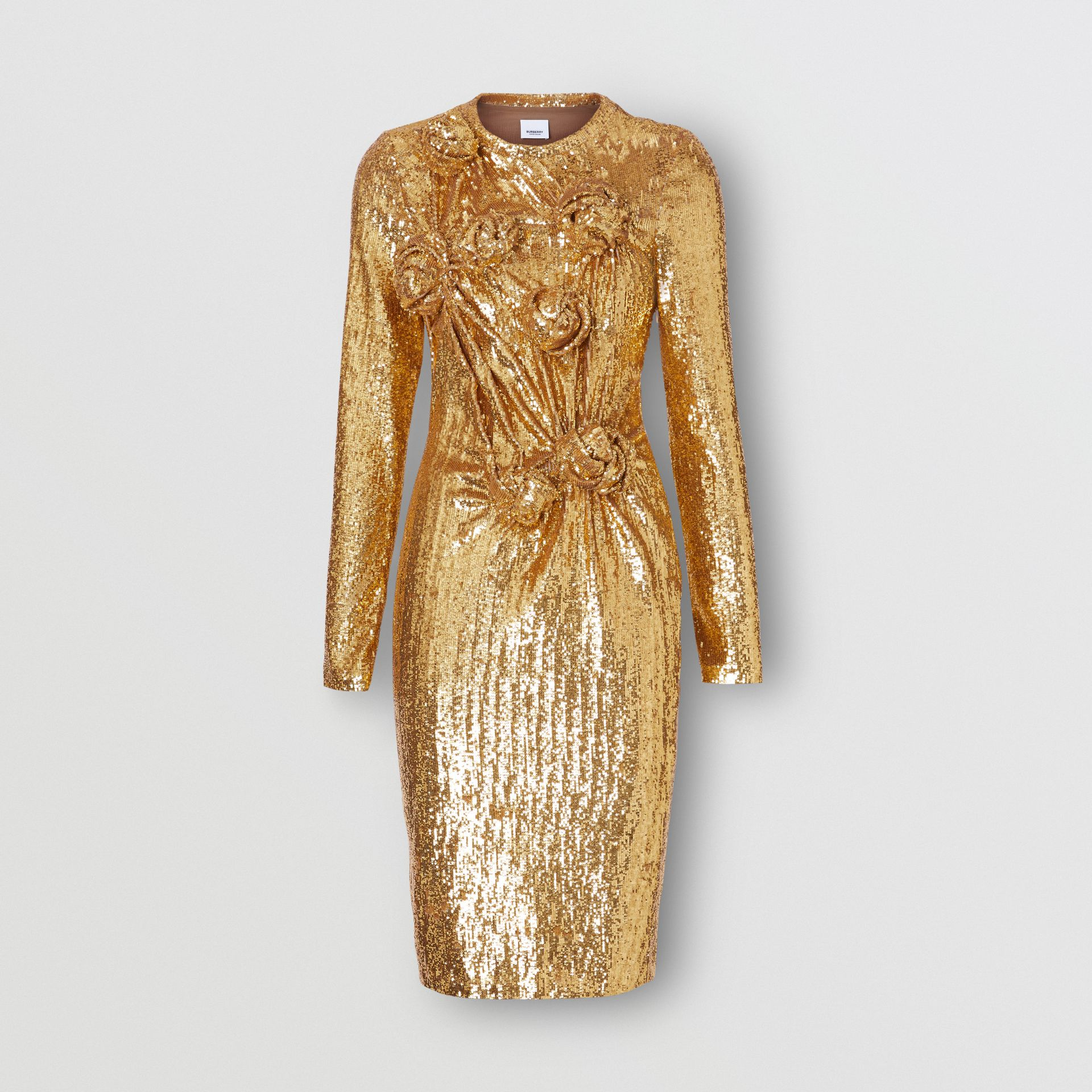 Hand-gathered Detail Sequinned Dress in Honey - Women | Burberry - gallery image 3