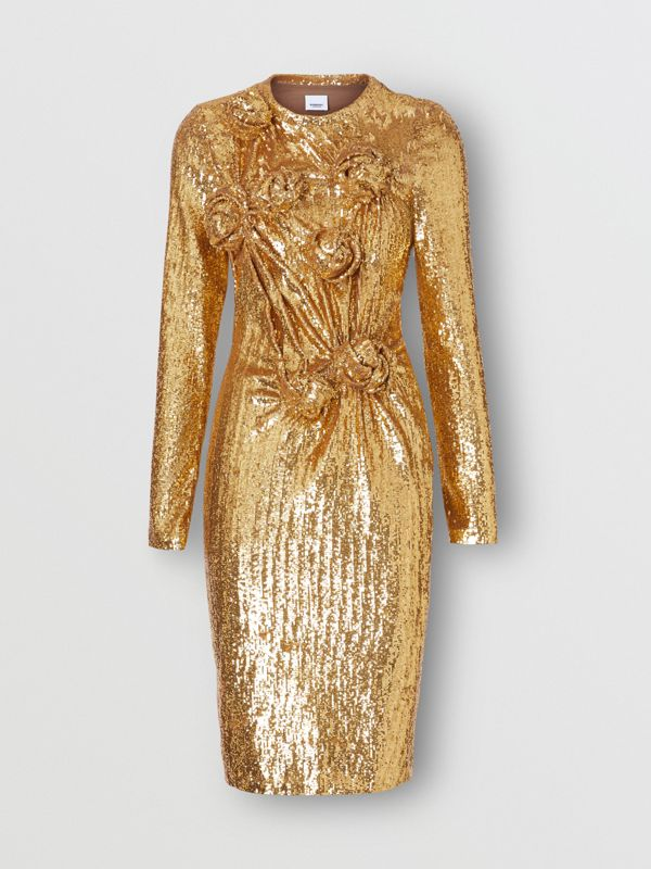 Hand-gathered Detail Sequinned Dress in Honey - Women | Burberry - cell image 3