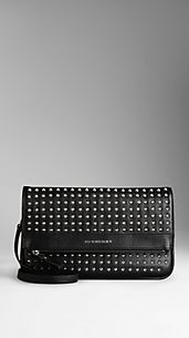 Studded Leather Foldover Crossbody Bag
