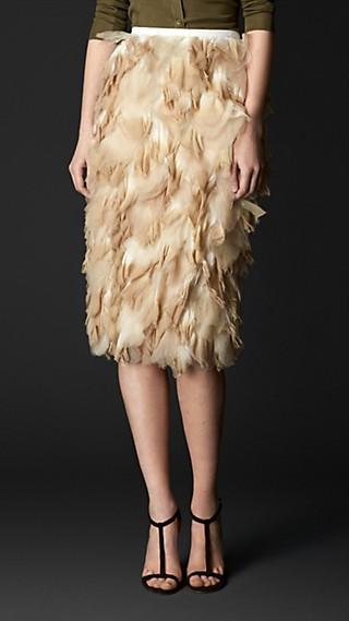 Dip-Dye Silk Petal Pencil Skirt
