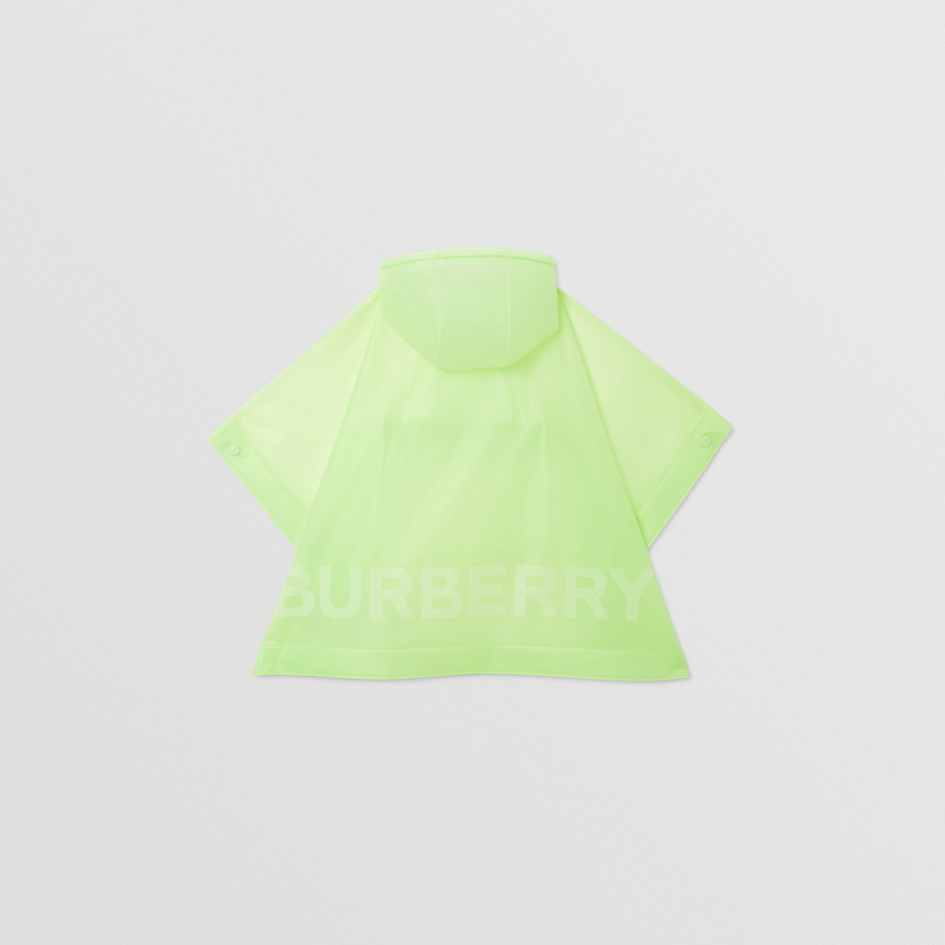 Logo Print Showerproof Hooded Poncho in Pistachio   Burberry - gallery image 4