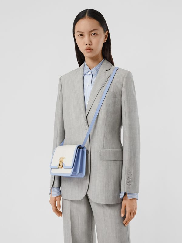 Small Two-tone Canvas and Leather TB Bag in Natural/pale Blue | Burberry United States - cell image 2