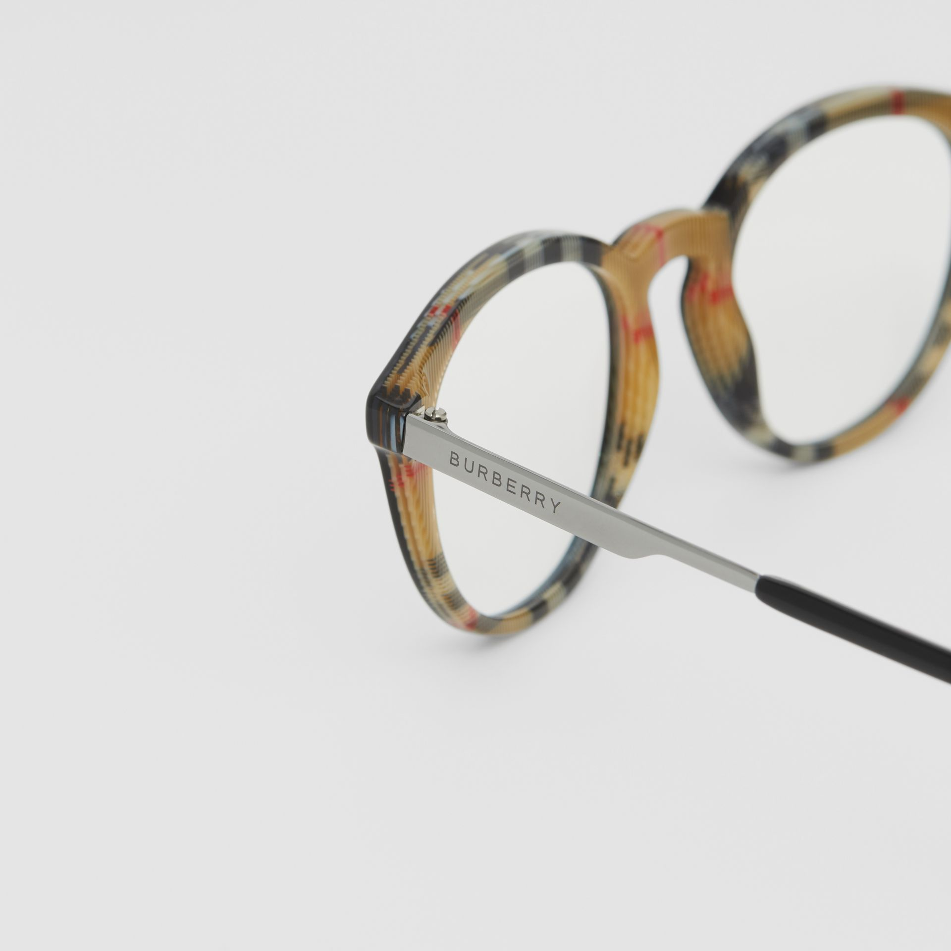 Round Optical Frames in Black/beige - Men | Burberry - gallery image 1