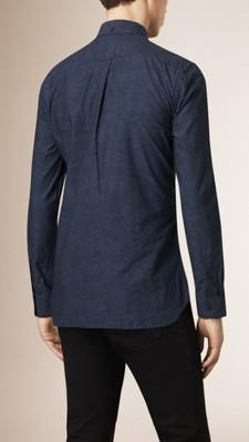 海军蓝 图案设计棉质提花衬衫 - 图像 2
