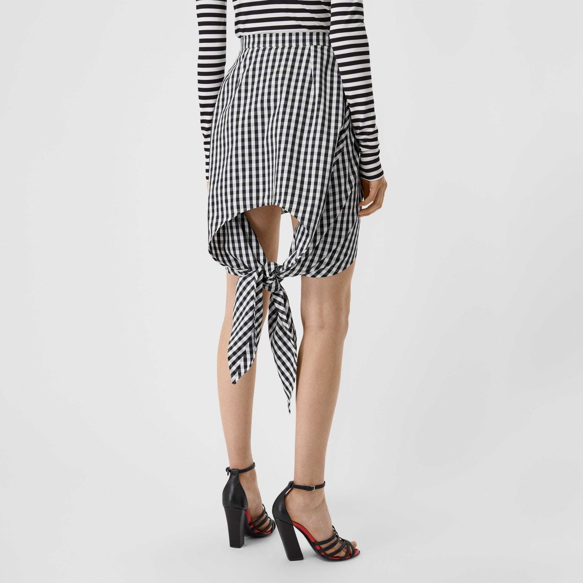 Scarf-tie Detail Gingham Technical Wool Mini Skirt in Black - Women | Burberry - gallery image 2