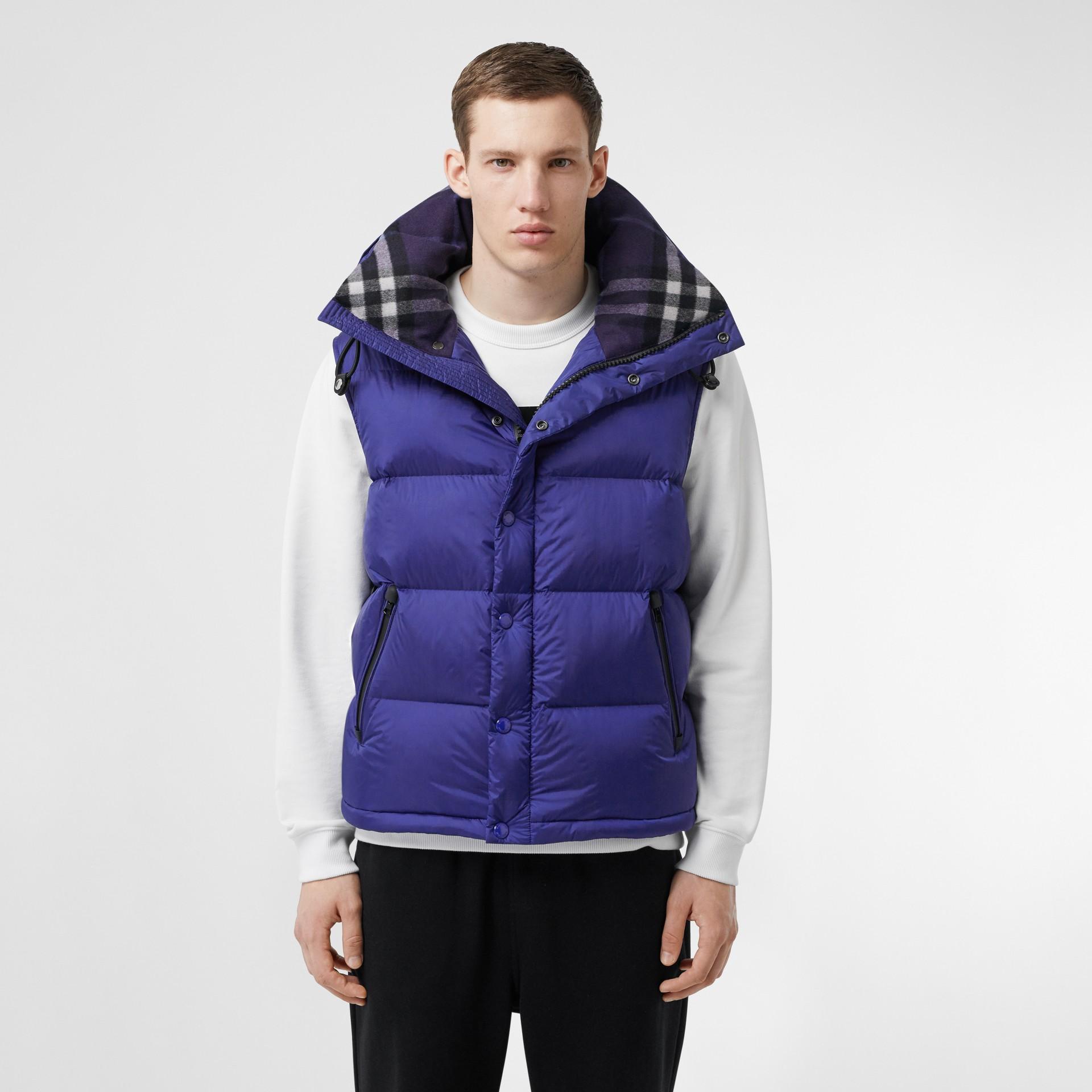 Detachable Sleeve Hooded Puffer Jacket in Dark Cobalt Blue - Men | Burberry - gallery image 5
