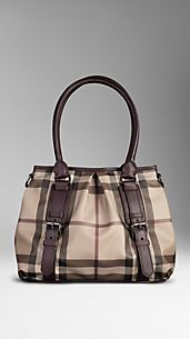 Henkeltasche in Smoked Check