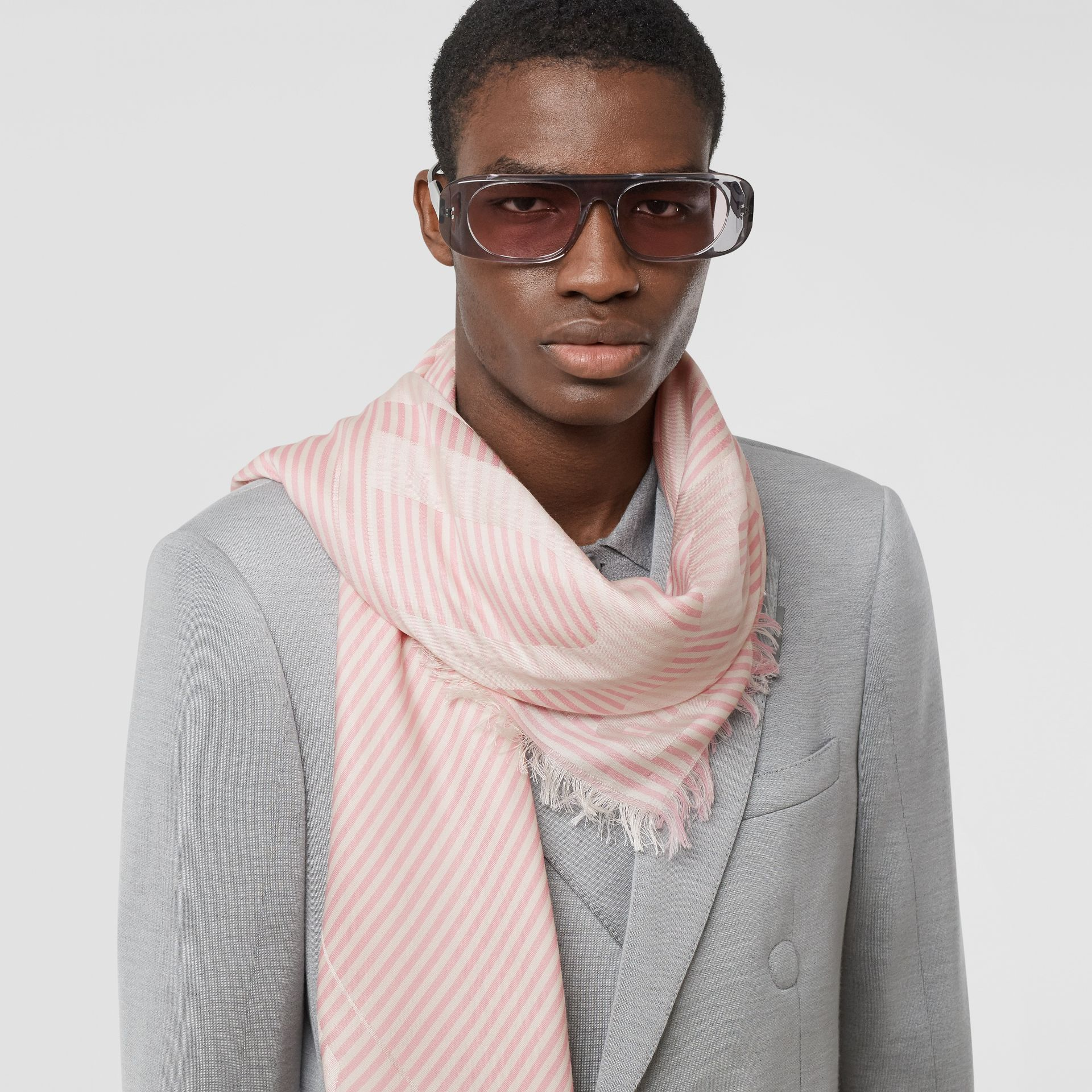 Striped Logo Silk Wool Jacquard Large Square Scarf in Peony Pink | Burberry - gallery image 3
