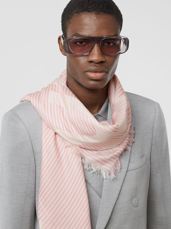 Striped Logo Silk Wool Jacquard Large Square Scarf in Peony Pink | Burberry - cell image 3