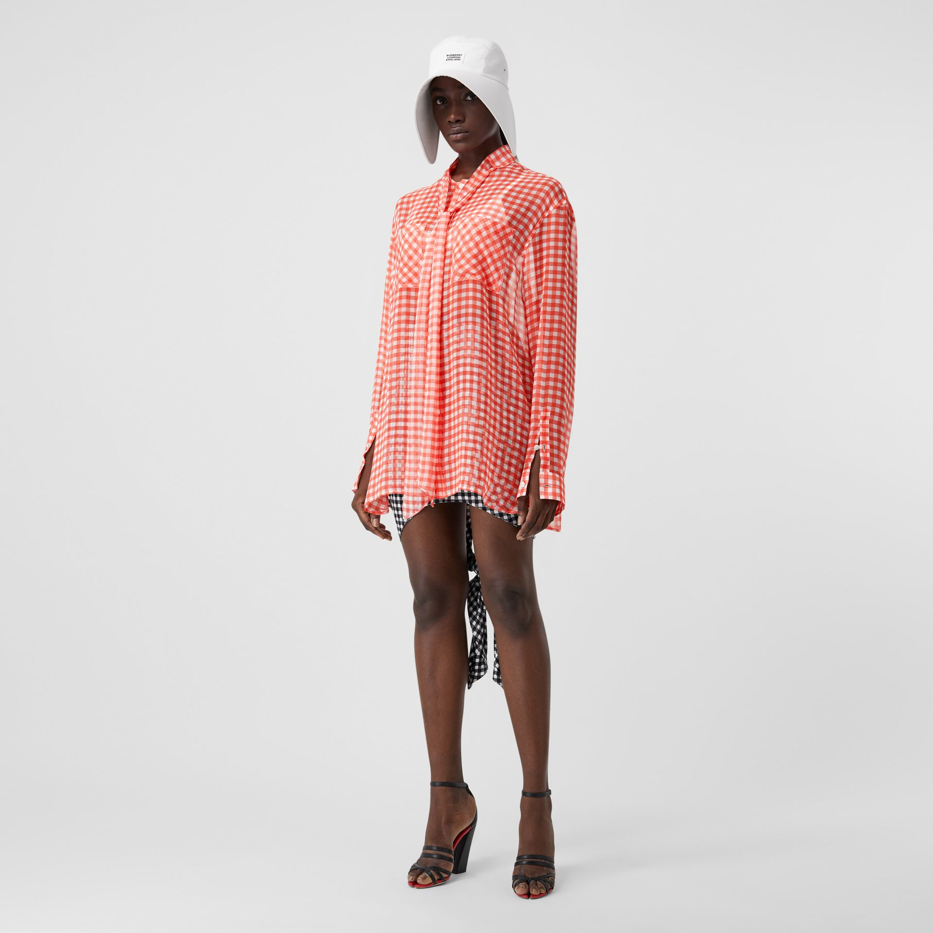 Gingham Silk Chiffon Pussy-bow Blouse in Red - Women | Burberry - gallery image 0